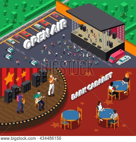 Musicians People Playing On Stage And At Open Air Concert Horizontal Isometric Banners Set Isolated