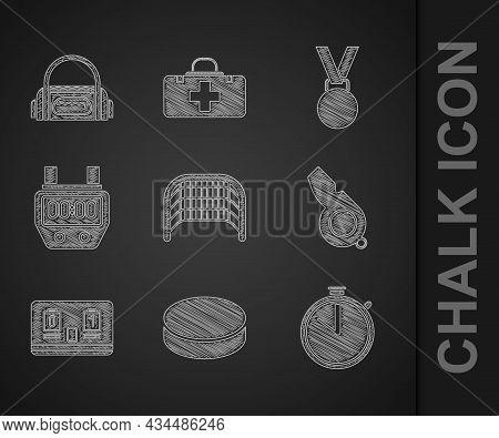 Set Ice Hockey Goal, Hockey Puck, Stopwatch, Whistle, Mechanical Scoreboard, Medal And Sport Bag Ico
