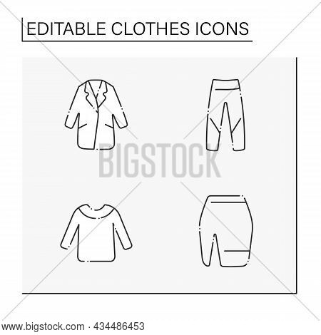 Clothes Line Icons Set. Trendy Outfits. Coat, Jeans, Mini Skirt And Sweater. Fashionable Clothing. S
