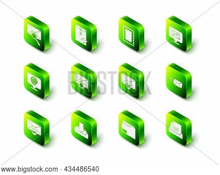 Set Envelope, Postal Stamp, Speech Bubble With Envelope, Express, Drawer Document, Delete, Document