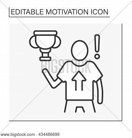 Achievement Motivation Line Icon.pursuing And Achieving Specific Goals Not For Rewards. Motivation C