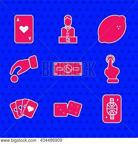 Set Stacks Paper Money Cash, Game Dice, King Playing Card With Diamonds, Hand Holding Casino Chips,