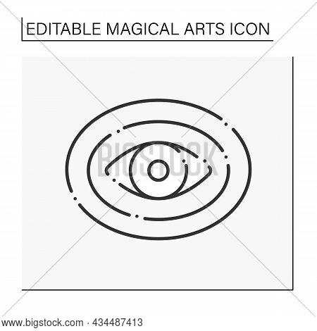 Aura Line Icon. Unseen Field Of Energy Surrounding Person Physical Body. Magical Arts Concept. Isola