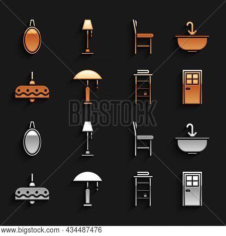 Set Table Lamp, Washbasin With Water Tap, Closed Door, Bathroom Rack Shelves For Towels, Chandelier,