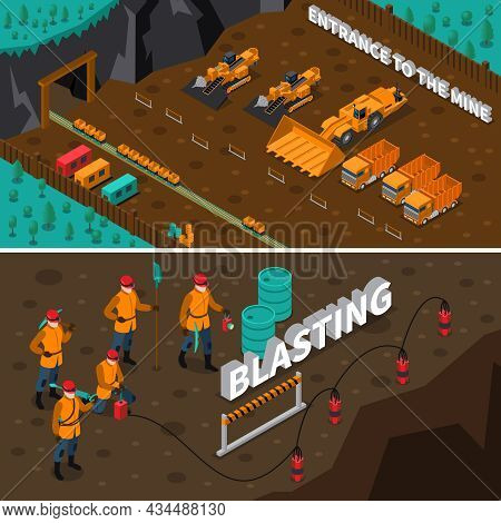 Isometric Horizontal Banners Presenting Miner People Machinery And Process Of Blasting Isolated Vect