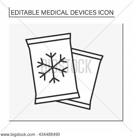 Cold Pack Line Icon. Chilling Packs For Traumas Treatment. Bruise Prevention.medical Devices Concept