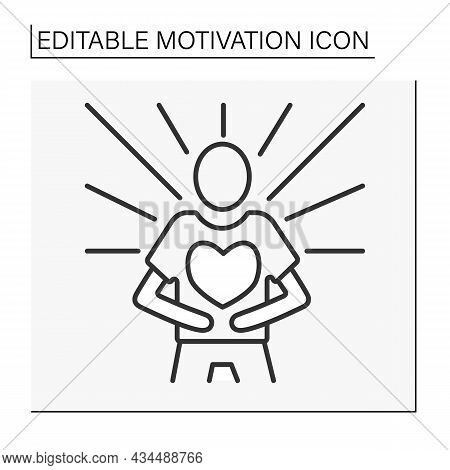 Emotional State Line Icon. Calming And Emotions Control For Achieving Goals. Motivation Concept. Iso