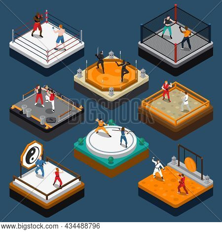 People Fighters And Martial Arts Tournaments On Various Rings And Dojo Isometric Composition Isolate