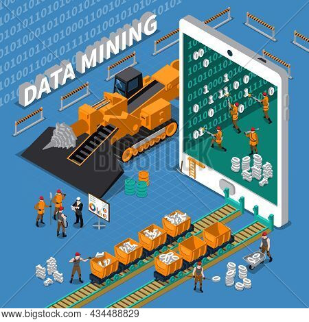 Data Mining Abstract Isometric Concept With Tablet Image And Miner Workers On Blue Background Vector