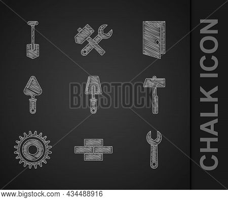 Set Trowel, Bricks, Wrench Spanner, Hammer, Circular Saw Blade, Closed Door And Shovel Icon. Vector