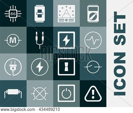 Set Exclamation Mark In Triangle, Electric Circuit Scheme, Ampere Meter, Multimeter, Voltmeter, Audi