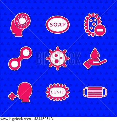 Set Virus, Corona Virus Covid-19, Medical Protective Mask, Washing Hands With Soap, Man Coughing, Ne