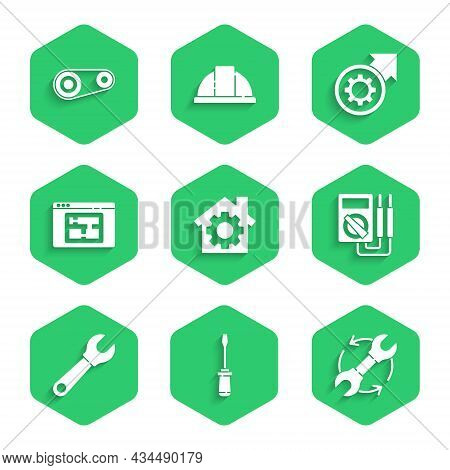 Set House With Gear, Screwdriver, Wrench And Arrows As Workflow, Multimeter, Spanner, Plan, Gear Pro