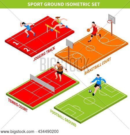 Isometric Concept With Jogging Track And Colorful Courts And Grounds For Various Sport Games Isolate
