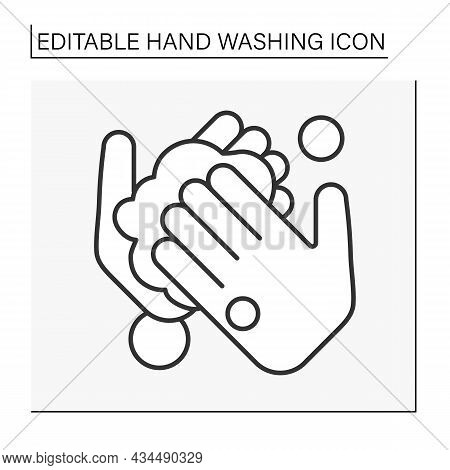 Palm Washing Line Icon. Cleaning Palms. Froth Soap In Hands. Disinfection.hygiena Concept. Isolated