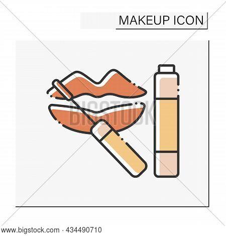Lip Gloss Color Icon. Special Shining Lipstick. Lip Care.makeup Concept. Isolated Vector Illustratio