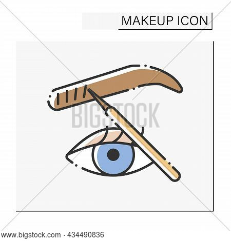 Microblading Color Icon. Cosmetic Tattooing Procedure. Fills In Thin Eyebrow Areas To Make Them Look