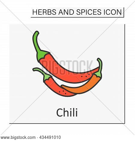 Chili Color Icon. Hot-tasting Pod For Sauces, Relishes, And Powders. Additional Taste For Food. Herb