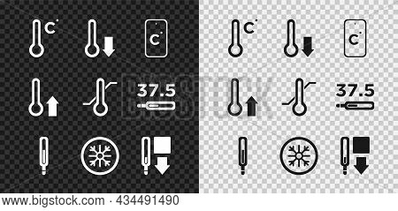 Set Meteorology Thermometer, Celsius, Medical, Snowflake, And Icon. Vector