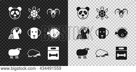 Set Cute Panda Face, Turtle, Head Of Goat Or Ram, Sheep, Hedgehog, Dog Bone, Macaw Parrot And Icon.