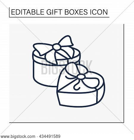 Presents Line Icon. Gift Case With Ribbon, Top View.holiday Congratulation, Surprise For Friends. Ho