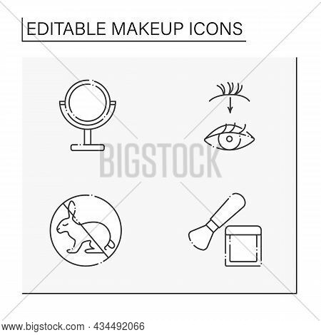 Makeup Line Icons Set. Mirror, Not Animal Testing, Brush And Lash Extension. Beauty Salon. Cosmetolo