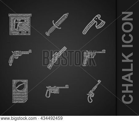 Set Hunting Gun, Mauser, Revolver, Firearms License Certificate, Wooden Axe And Military Ammunition