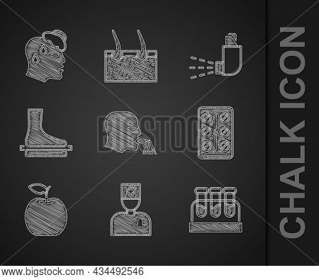 Set Vomiting Man, Male Doctor, Test Tube With Blood, Pills Blister Pack, Apple, Flat Foot, Inhaler A
