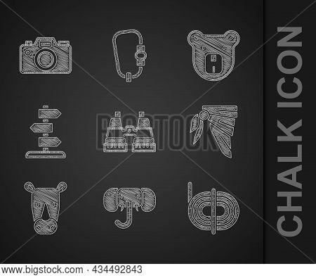 Set Binoculars, Elephant, Climber Rope, Bandana Or Biker Scarf, Rhinoceros, Road Traffic Sign, Bear
