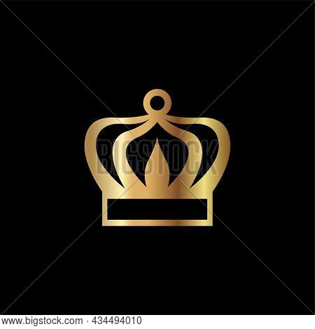 Crown Icon. Royal Golden Crown Vector Illustration. Crown Isolated On Black Background. Crown Logo D