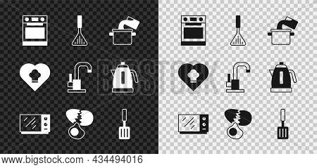Set Oven, Barbecue Spatula, Cooking Pot, Microwave Oven, Broken Egg, Chef Hat And Water Tap Icon. Ve