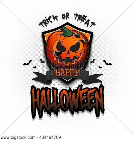 Happy Halloween. Logo Bowlitg Ball As Pumpkin
