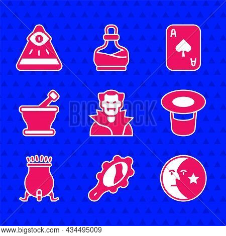 Set Vampire, Magic Hand Mirror, Moon Stars, Hat, Witch Cauldron, Mortar Pestle, Playing Cards And Ma