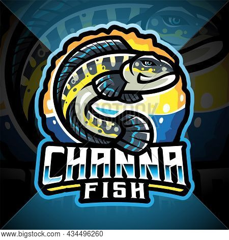 Channa Fish Esport Mascot Logo Design With Text