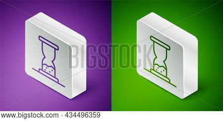 Isometric Line Old Hourglass With Flowing Sand Icon Isolated On Purple And Green Background. Sand Cl