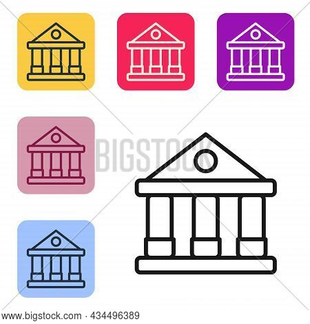 Black Line Courthouse Building Icon Isolated On White Background. Building Bank Or Museum. Set Icons