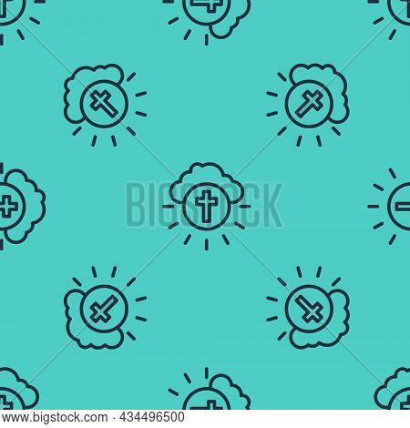 Black Line Religious Cross In The Circle Icon Isolated Seamless Pattern On Green Background. Love Of