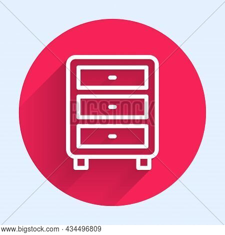 White Line Archive Papers Drawer Icon Isolated With Long Shadow Background. Drawer With Documents. F
