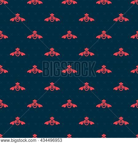 Red Line Plane Icon Isolated Seamless Pattern On Black Background. Flying Airplane Icon. Airliner Si
