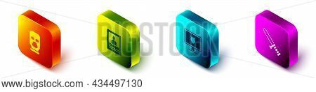 Set Isometric Balaclava, Wanted Poster, Police Database And Rubber Baton Icon. Vector
