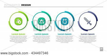 Set Comet Falling Down Fast, Air Element, Life And Medieval Sword. Business Infographic Template. Ve
