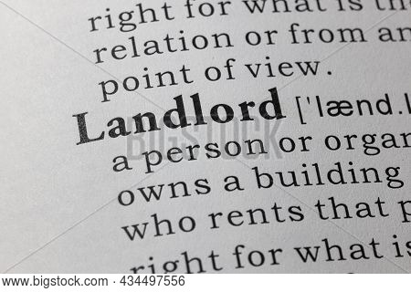 Fake Dictionary Word, Dictionary Definition Of Landlord