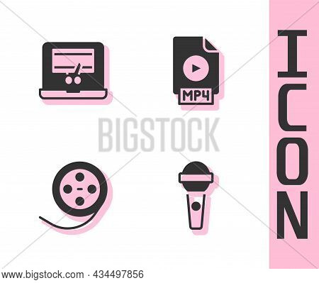Set Microphone, Video Recorder Laptop, Film Reel And Mp4 File Document Icon. Vector