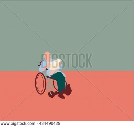 Old Man In Wheelchair Is Reading A Newspaper. Vector Cartoon Illustration Isolated.