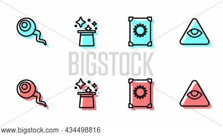 Set Line Ancient Magic Book, Eye, Magic Hat And Masons Icon. Vector