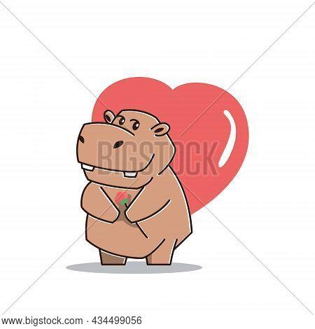 Cute Big Hippo Hippopotamus In Love Heart Flower Mascot Character Cartoon
