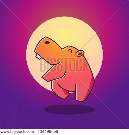 Cute Happy Big Hippo Hippopotamus Jumping Moon Mascot Character Cartoon