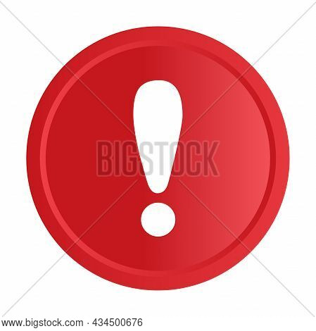 White Exclamation Mark On Red Circle Button Icon Vector For Graphic Design, Logo, Website, Social Me