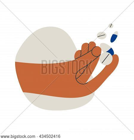 Hand Holding Pills Tablet Drugs Capsules Or Vitamins By Two Fingers. Pharmacy, Drug Store, Medicine.
