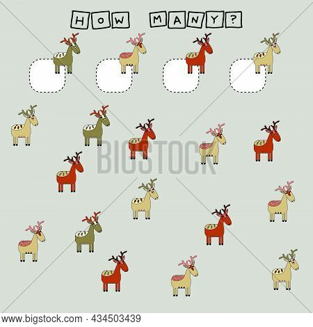 How Many Counting Game With Funny  Deer. Worksheet For Preschool Kids, Kids Activity Sheet, Printabl